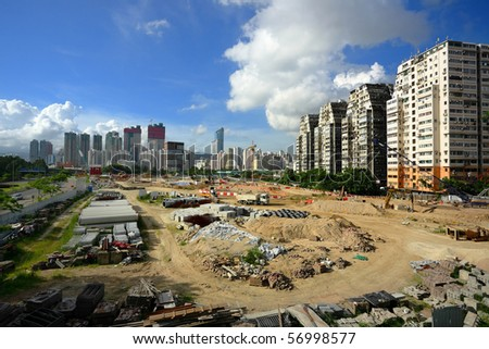 construction site in city - stock photo