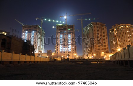Construction site in Doha at night, Qatar - stock photo
