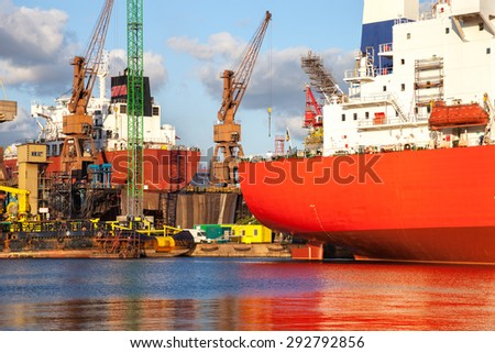 Construction site in the Shipyard of Gdansk Poland. - stock photo