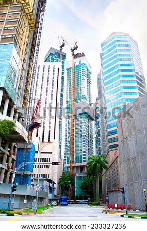 Construction site of a modern buildings in Singapore  - stock photo