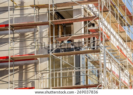 Construction site of ablock of flats - stock photo