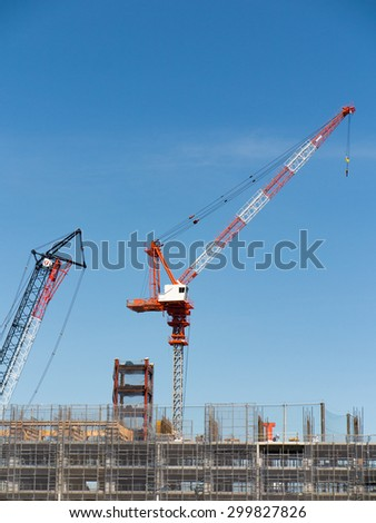 Construction site of large-scale apartment - stock photo