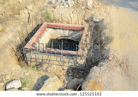construction site of sewer - stock photo