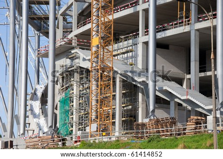 Construction site of the National Football Stadium in Warsaw, Poland. Development for European Football Championship in Poland and Ukraine in 2012. - stock photo