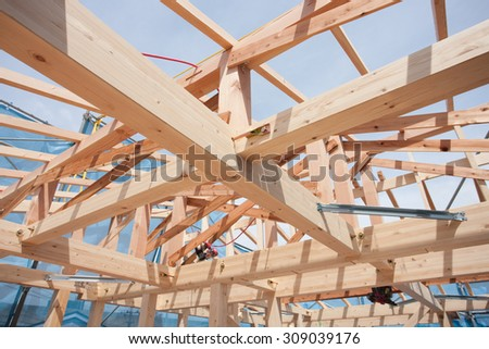 Construction site of wooden houses