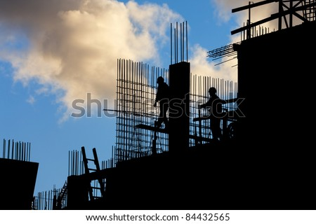 Construction site on a blue sky background - stock photo