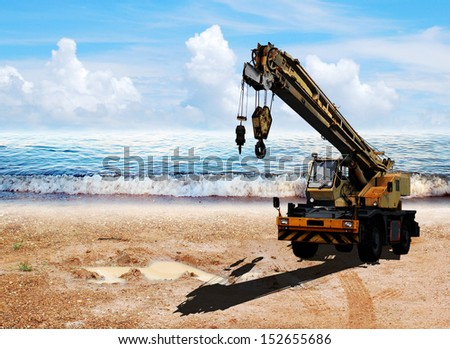Construction site on beach view