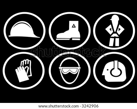 construction site safety symbols hat boots harness gloves goggles and ear protection - stock photo