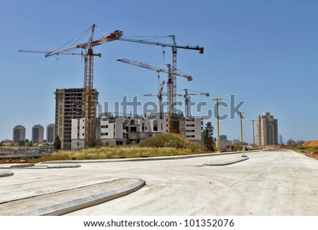 construction site view on a sunny afternoon - stock photo