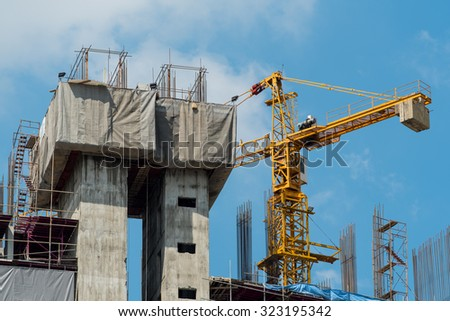 construction site with big crane - stock photo