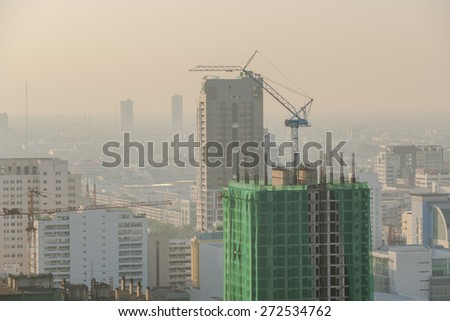 Construction site with crane and building safety. - stock photo
