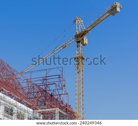 Construction site with crane and building,Thailand - stock photo