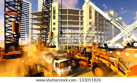 Construction site with various machines - ready to go! - stock photo