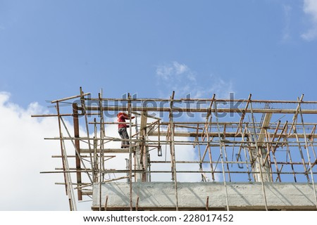 construction site workers - stock photo