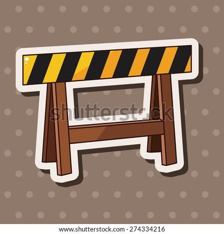 Construction sites fence , cartoon sticker icon - stock photo