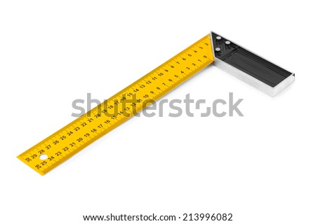 Construction square triangle ruler isolated on white background - stock photo