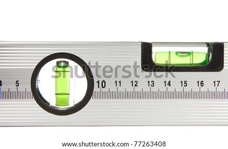 construction steel level isolated on white background - stock photo