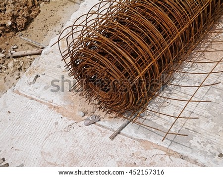 Construction Steel Round Bar. Rusty bars in construction site. - stock photo