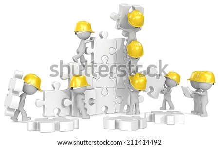 Construction time. Dude x 9 the builders at puzzle construction site. - stock photo