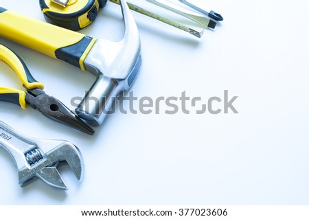 Construction Tools on white background - stock photo