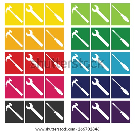 Construction Tools -  Set of Construction or Home Repair tools shown in silhouette against a spectrum of color block backgrounds - stock photo