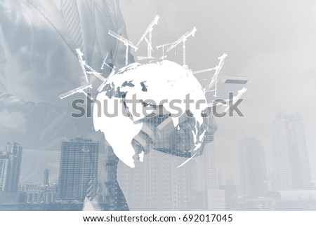 Construction Tower Crane Putting Continents In Place, Concept Of Building A New  World