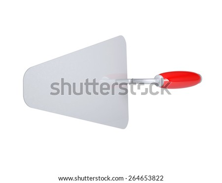 Construction trowel with red handle. Top view. Isolated on white background - stock photo