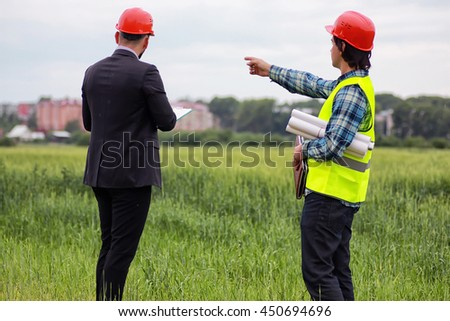 construction two man in the field