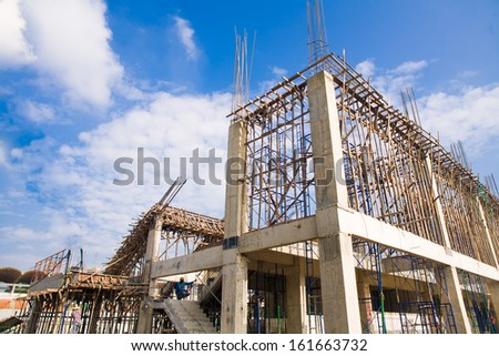 Construction under a blue sky, engineer - stock photo