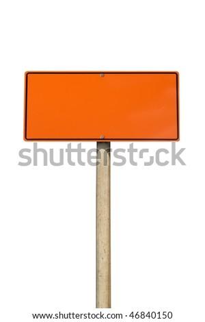 Construction warning sign isolated on white background - stock photo