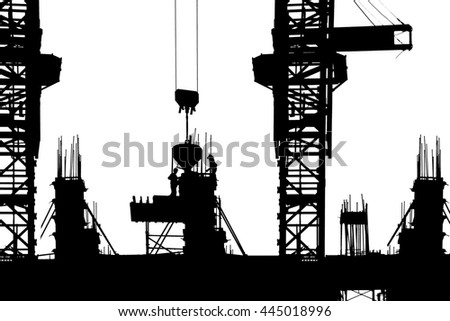 Construction with workers on isolate background - stock photo