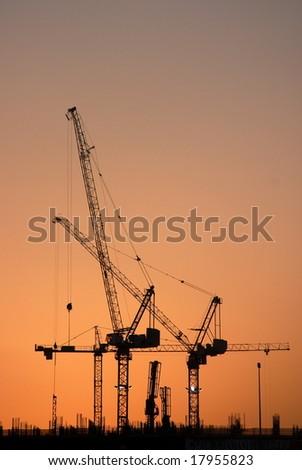 Construction work goes on into the night (Dubai) - stock photo