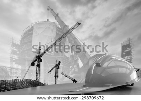 construction work safety helmet black and white tone. - stock photo