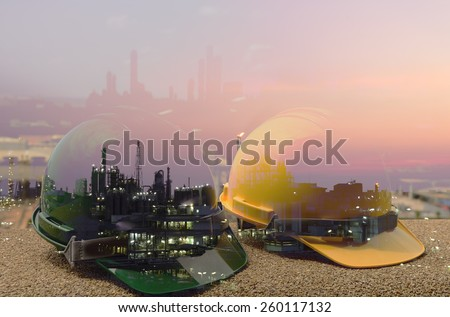 Construction  work Safety helmet ,safety first sign, - stock photo