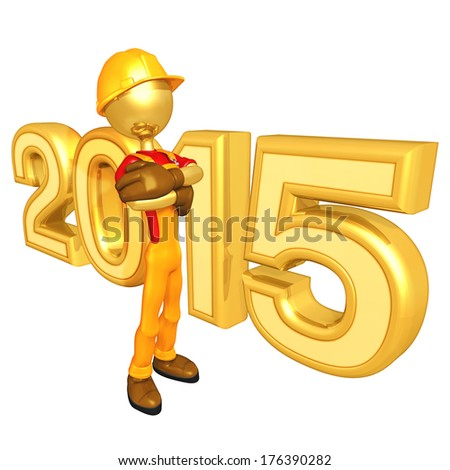 Construction Worker 2015 - stock photo