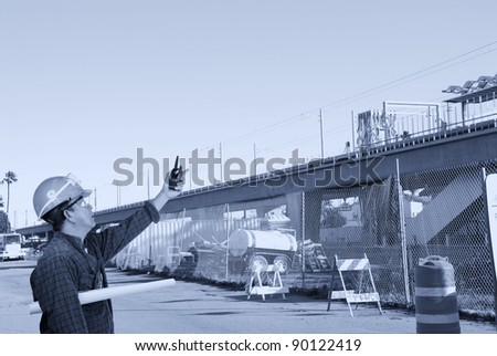 construction worker at construction site - stock photo