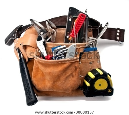 construction worker belt with tools isolated on white - stock photo