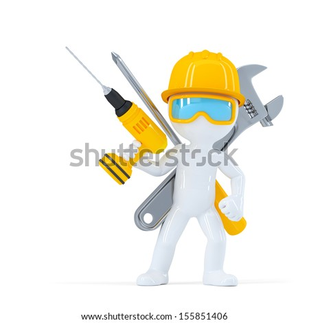 Construction worker/Builder with tools. Isolated on white background - stock photo