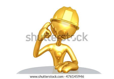 Construction Worker Character 3D Illustration