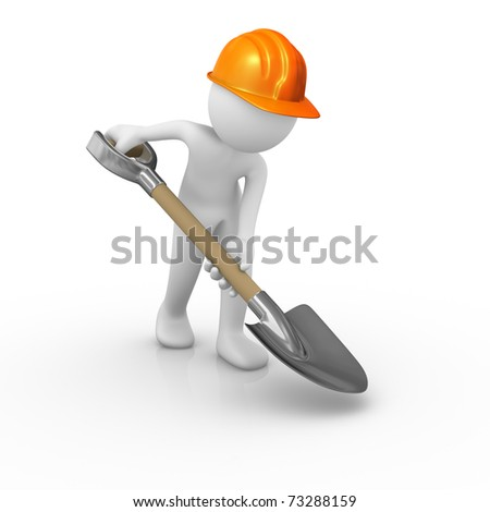 Construction worker digging the ground - stock photo