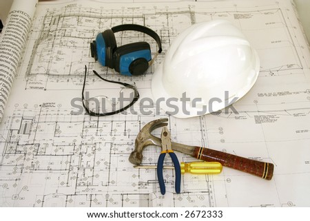 Construction worker equipments and drawing - stock photo