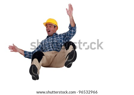 Construction worker falling - stock photo