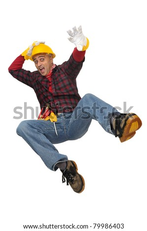 Construction worker falling isolated in white