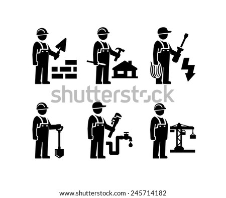 Construction Worker Figure Pictogram icons  - stock photo