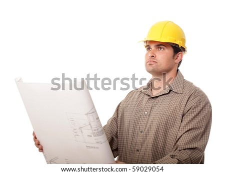 Construction worker holding blueprints isolated on white
