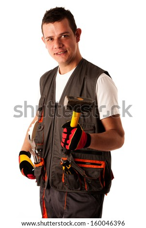 Construction worker in work dress isolated over white background