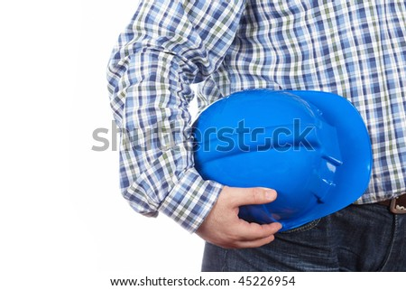 Construction worker, isolated on a white background - stock photo