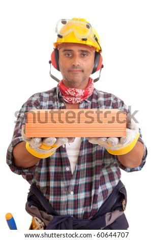 Construction worker offering services, isolated over white