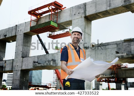 Construction Worker Planning Constructor Developer Concept - stock photo