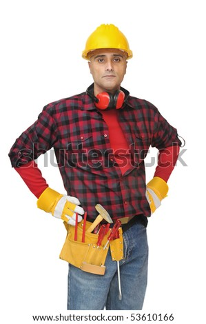 Construction worker posing isolated in white - stock photo